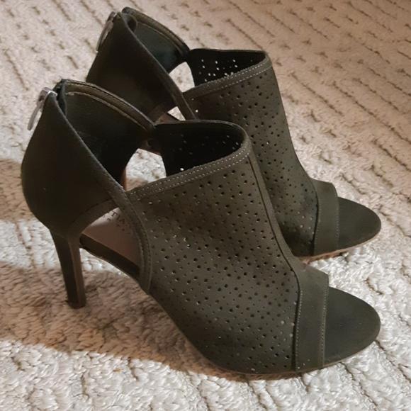 Olive Green Peep-toe Heels